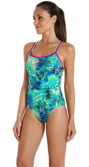 speedo Endurance+ Junglewave Allover Svømmedragt Damer grøn/blå